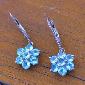 Jewelry - Vintage Sterling Silver Light Blue Flower Earrings