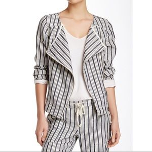 Michael Stars Striped Linen Moto Jacket
