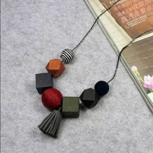 Jewelry - Cute Tassel Wood Round Ball Pendant Long necklace