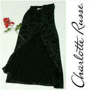Vintage Charlotte Russe Long Black Floral Skirt