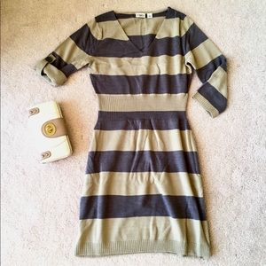 🍁 Gray and tan stripped sweater dress