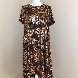 Lularoe Carly Elegant Edition Brown Gold Dress XL