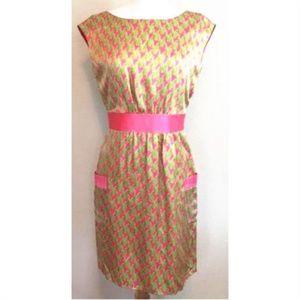 Houndstooth Kimball Pink Silk Dress