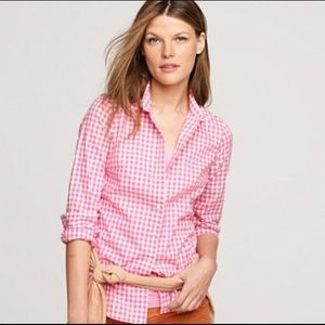 J. Crew Perfect Shirt in Neon Pink Gingham