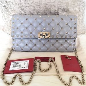 Valentino Quilted Rockstud Blue Wallet On Chain