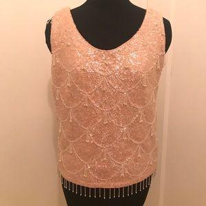 Mod 60s Gogo dancer beaded sequin peach blouse