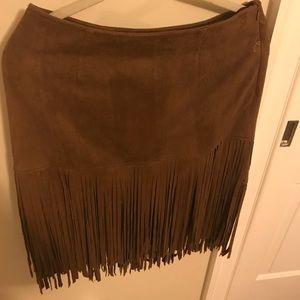 Fringe Faux Suede Skirt Size Medium