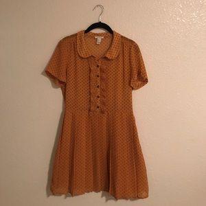 F21 Burnt Yellow Pleated Dress