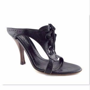 YVES SAINT LAURENT YSL 37.5 Black Tie Heel Sandal