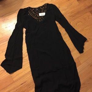 Bohemian Black Maxi Dress with Sleeves