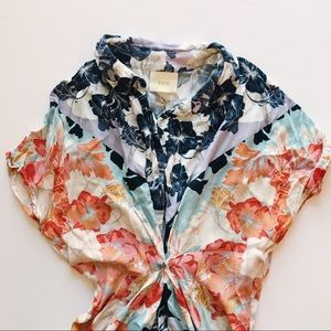 Anthropologie Maeve Silk Floral-Buttoned Blouse