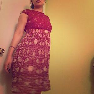 Ruby Red Lace and Chiffon Dress ❤️