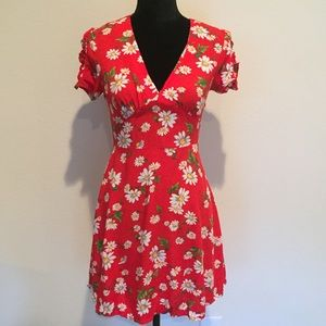Red Forever 21 Mini Dress With Daisy Floral Print
