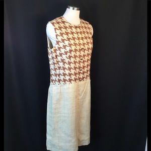 Mod Sleeveless Dress Houndstooth Linen Dress M