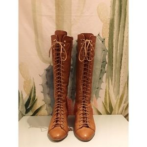 Matiko Camel Laced-Up Knee High Boots