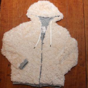 Zara Plush Faux Fur Sweatshirt Hoodie