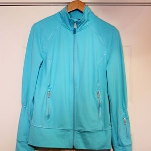 Alo Yoga Blue Turquois Zip up Key Hole Jacket