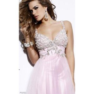 SHERRI HILL PINK AND PEARL BALL OR PROM GOWN
