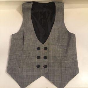 Club Monaco size small black and white plaid vest