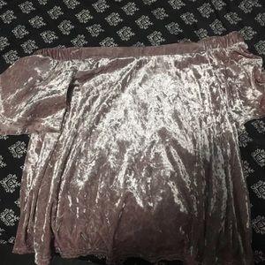 Velvet pink shoulder cut shirt