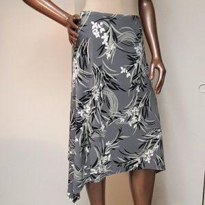 Slinky Gray Orchid Print Asymmetrical  Hem Skirt