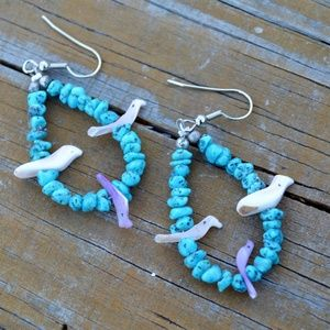 Southwestern Turquoise Carved Shell Bird Earrings