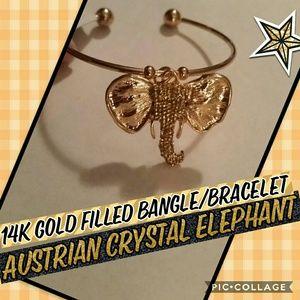 14K Gold filled Austrian Crystal Elephant bracelet