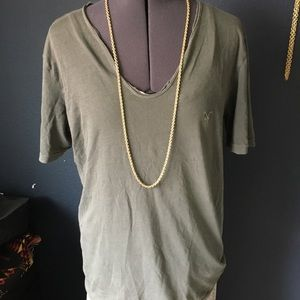 Grey distressed all saints V neck tee