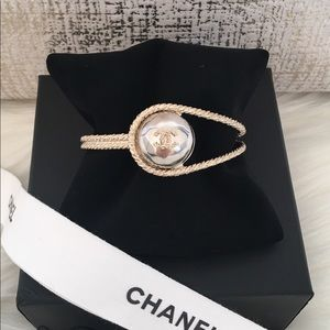 New Chanel CC Silver Gold Braided Cuff Bracelet