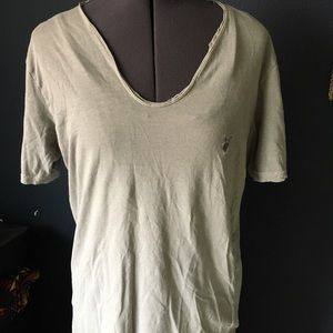 Light grey distressed all saints v neck tee