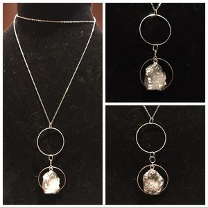 Double circles with natural Quartz druzy dangling