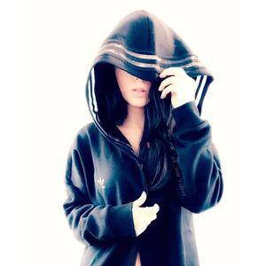 Adidas Originals black full zip hood sweat