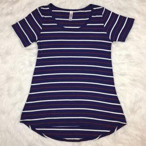 Lularoe Blue Stripe Classic Tee T-Shirt XXS
