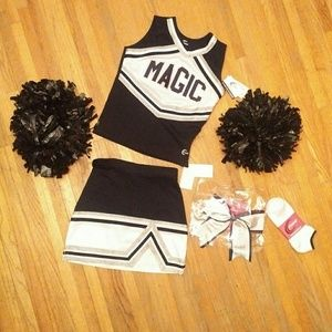 NWT real cheerleading uniform used poms xs adult