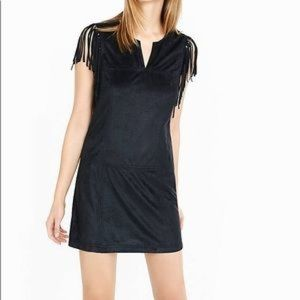 Faux Suede Tank Top Dress Fringe Sleeve Express L