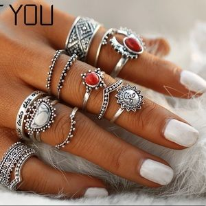 🌹Red Vintage Midi Rings Set