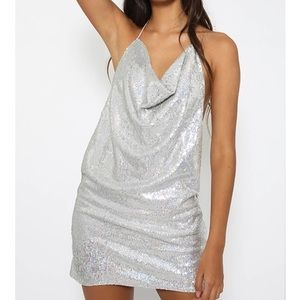Peppermayo silver shimmer dress, halter tie top