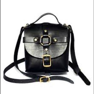 Zana Bayne black leather mini signature bag gold