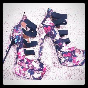 Qupid Platform Satin Floral Stiletto Heels 7.5