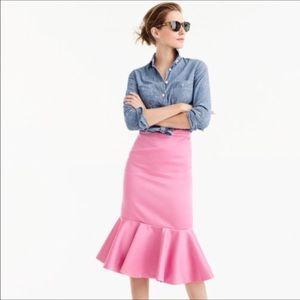 J. Crew pink satin skirt