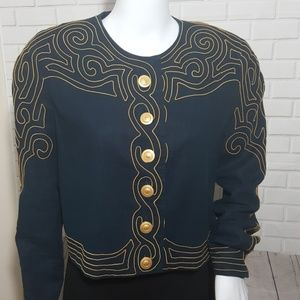 Vtg Marie St Claire Embroidery Jacket Gold Button