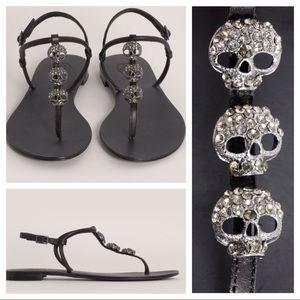 Ash Marcel crystal skull sandal flats