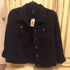 Forever 21 black distressed denim jacket