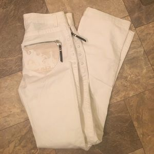 Nine West White Gypsy Boho Embroidered Jeans