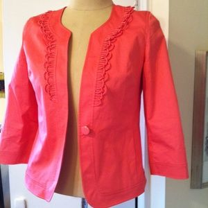 Talbots Coral Pink Jacket Polished Cotton Jacket 6