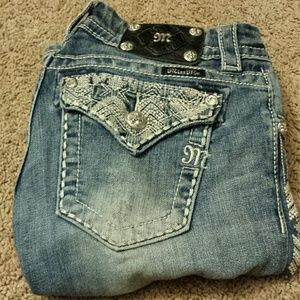 Miss Me Boot Cut Woven Pattern Jeans