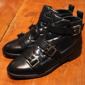 Zara Leather Quilted Buckle Boots