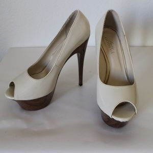 Nude Patent Open Toe Wood Print Platform Pump High