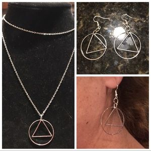 Circle & triangle necklace & earring set/separate