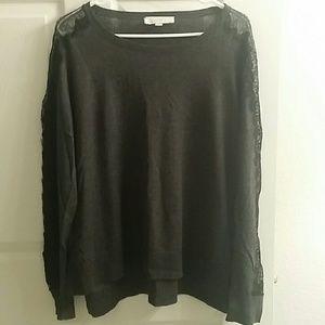 LOFT Charcoal Gray Lace Sleeve Sweater Sz XL